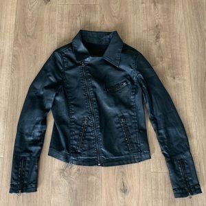 AG Adriano Goldschmied Black Waxed Denim Jacket